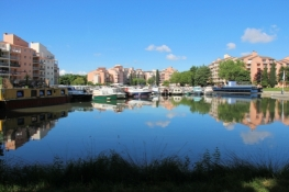 Toulouse, modern canal port at the Canal du Midi