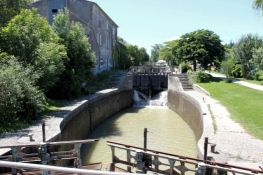 Canal du Midi,  flight of staircase locks near Castelnaudary
