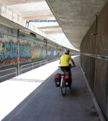 Arles, cycle path inside the Rhône bridge