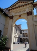 Novara, gate in the courtyard fo the Cathedral