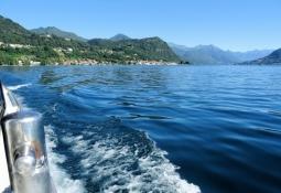 Crossing Lago dʹOrta by ferry boat