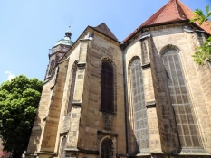 View of the nave of Saint Maryʹs church in Pirna