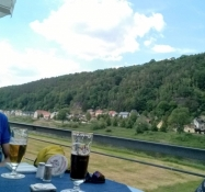Enjoying a beer at a café just beside the Elbe bikepath
