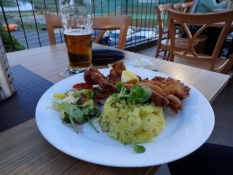 A hearty supper with several glasses of beer is always needed after a stage