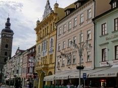 Beautiful citizenʹs houses on the main square Přemysl Otakara II in České Budějovice