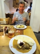 Kolya and I enjoyed a traditional Czech dish along with several pints of Budweiser Budvar beer