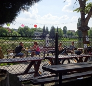 Life is slow in the beer garden that lies right down by the riverside in Týn nad Vltavou
