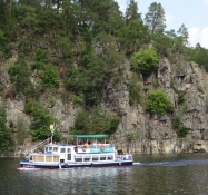 Passanger boat on the Vltava in a picturesque setting