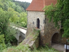 The bridge and gatehouse to the medieval fortress of Zvíkov