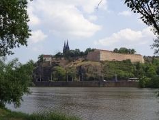 We had a nice view on the castle Vyšehrad from the campsite