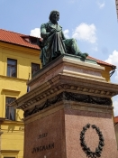 He studied Czech language and this is the Jungmann monument, reviver of the Czech language