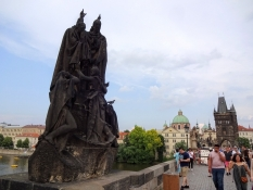 One can see many statues and tourists on Charles bridge, one of the oldest bridges north of the Alps