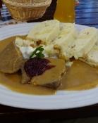 The Czech national dish svíčková na smetaně, pork in double cream sauce with bread dumplings