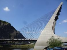 Impressive suspension bridge cross the Elbe at Ústí nad Labem