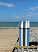 Waste basket on the beach of Cayeux-sur-Mer