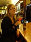 Signe nyder en Berliner Weisse mit Schuss/Signe is enjoying a Berliner Weisse with raspberry shot