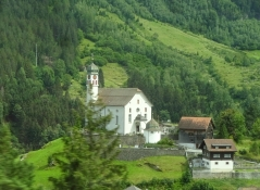 A view from the train to Goeschenen in the Reuss valley
