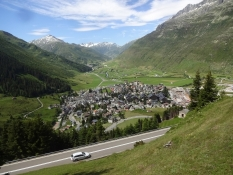 The town of Andermatt as seen from the train to Oberalppass