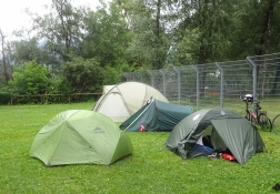 Auf dem Campingplatz von Chur war die erste Nacht sehr nass