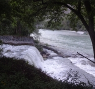 The mouth of the Plessur river into the Rhine forms a small waterfall