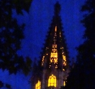 The steeple of the cathedral at a late time of the day