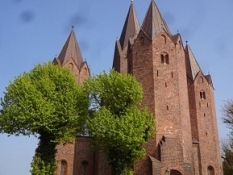 The famous medieval church of Kalundborg has five steeples