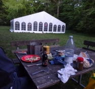 Supper on the tent site in the woods of Vintersboelle near Vordingborg