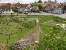 Springtime view on a part of Vordingborg from the walls of the castle ruins