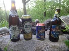 Vier Produkte des Systembolaget ausgestellt auf meinem Zeltplatz im Wald